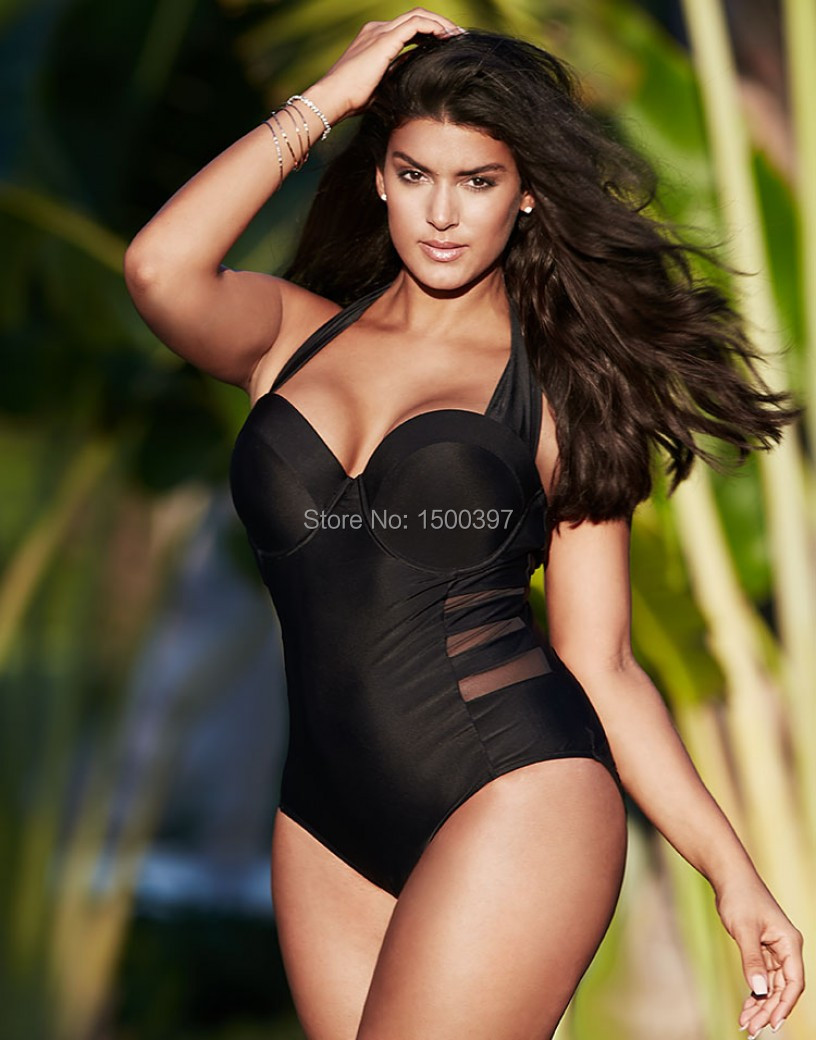 Retro Large Size L-5XL Women Black Halter one-piece Swimwear chic mesh inserts Push up Swimsuit Vintage Cut Bodysuit Monokini bar iii new bright white women s size large l mesh sleeve inset shift dress $79