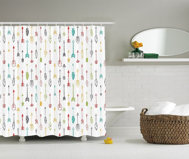 Shower Curtain Color Pen Doodle Style Fun Art With Arrows Printing Waterproof Mildewproof Polyester Fabric Kids