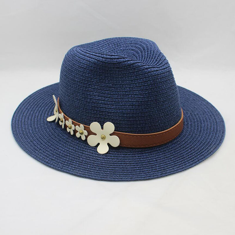 BINGYUANHAOXUAN New Women 39 s Pure Color Wide Along The Straw Hat Summer Sun Dome Fashion Belt Plum Decoration Hat in Men 39 s Sun Hats from Apparel Accessories
