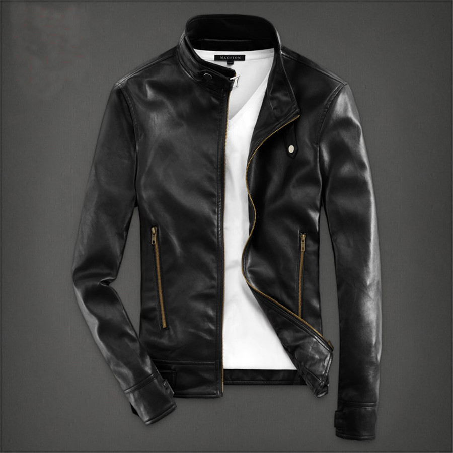 Leather jacket new look - Spring Time Brand New Fashion Style Male Jackets Pu Leather Picture Color Zippers Standing Collar Cool