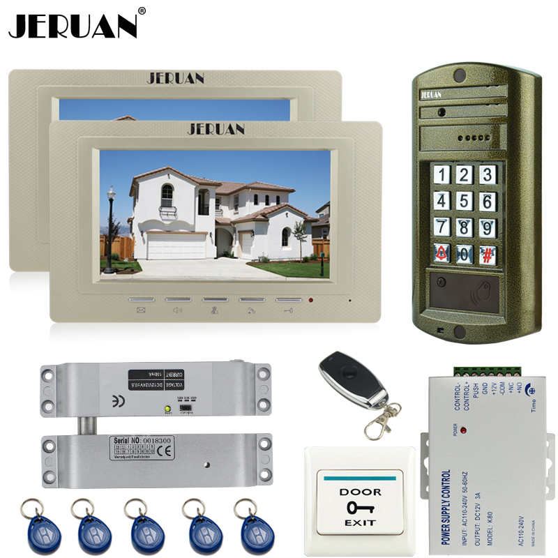 JERUAN Home 7`` Color video Intercom door phone system kit + NEW Metal waterproof Access password keypad HD Mini Camera +Power jeruan home 7 inch video door phone intercom system kit new metal waterproof access password keypad hd mini camera 2 monitor