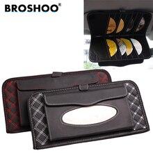 Broshoo 2 в 1 автомобиль Защита от солнца козырек tissue box держатель 14 диск аккуратные рукава cd dvd карты держатель Автомобильный Салонные аксессуары стиль