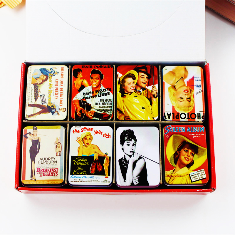 American vintage style mac make up organizer lovely girl picture mac lipstick 16piece lot tin - Small tin girl ...