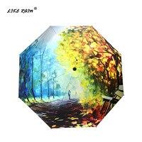 Как Дождь Картина маслом Для женщин зонт складной черное покрытие Зонтик Абстрактный Книги по искусству Дизайн зонт зонтики анти-УФ YHS02