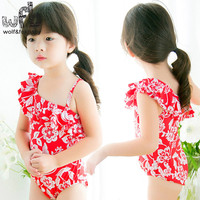 2 7years Summer Swimwear Fashion Sling Flowers Cute Sweet Sunscreen Swimsuit Baby Girl Safe And Comfortable