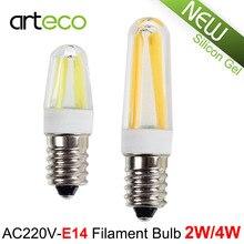 AC220V E14 LED Filament Bulb 2W 4W Dimmable LED Bulb Silicon Gel E14 LED Spotlight Replace Halogen Lamp Chandelier Crystal Light