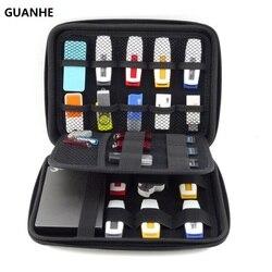 GUANHE إلكترونيات منظم الكابلات حقيبة USB فلاش محرك الذاكرة بطاقة HDD حالة السفر