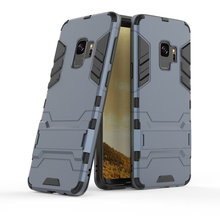 купить Armor Shockproof Case For Samsung Galaxy S9 3D Shield PC+Silicone Phone Case Cover For Samsung Galaxy S9 Plus Case Fundas Capa дешево