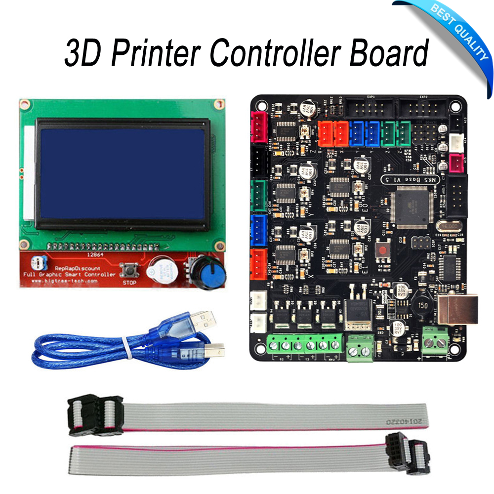 3D Printer Controller Board MKS Base V1.5 With Mega 2560 R3 Motherboard RepRap Ramps1.4 + 12864 LCD Controller flsun 3d printer big pulley kossel 3d printer with one roll filament sd card fast shipping