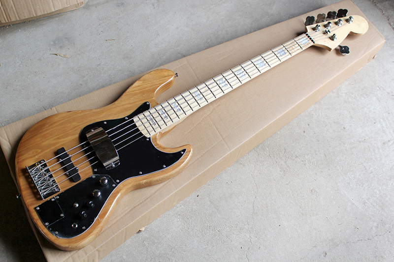 New product original wood color solid ASH body with black Plate 5 strings Jazz Bass Guitar, Free shipping