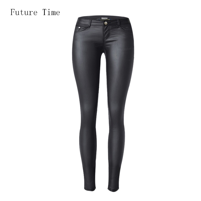 <font><b>2018</b></font> low waist <font><b>women</b></font> jeans <font><b>sexy</b></font> stretch elastic Faux leather jeans low waist slim skinny pencil <font><b>pants</b></font> washed coated jeans C1074 image