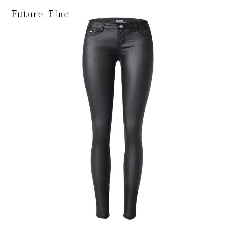 ed88f77fa 2017 cintura baixa jeans mulheres sexy estiramento elástico de couro Falso  calça jeans cintura baixa skinny slim lápis calças lavadas calças de brim  ...