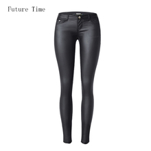 2017 low waist women jeans sexy stretch elastic Faux leather jeans low waist slim skinny pencil pants washed coated jeans C1074