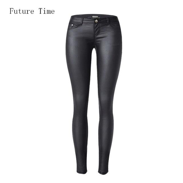 bcb977977009a 2018 bajo la cintura de las mujeres pantalones vaqueros sexy elástico cuero  jeans cintura baja slim
