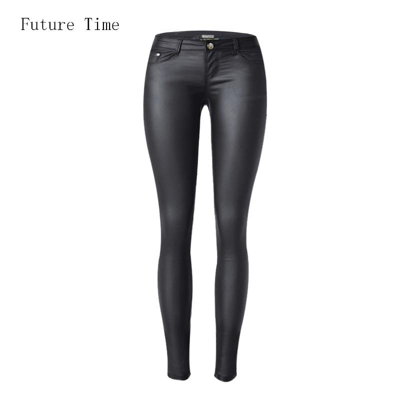 2018 düşük bel kadın kot seksi streç elastik Suni deri kot düşük bel ince sıska kalem pantolon kaplı kaplı kot C1074