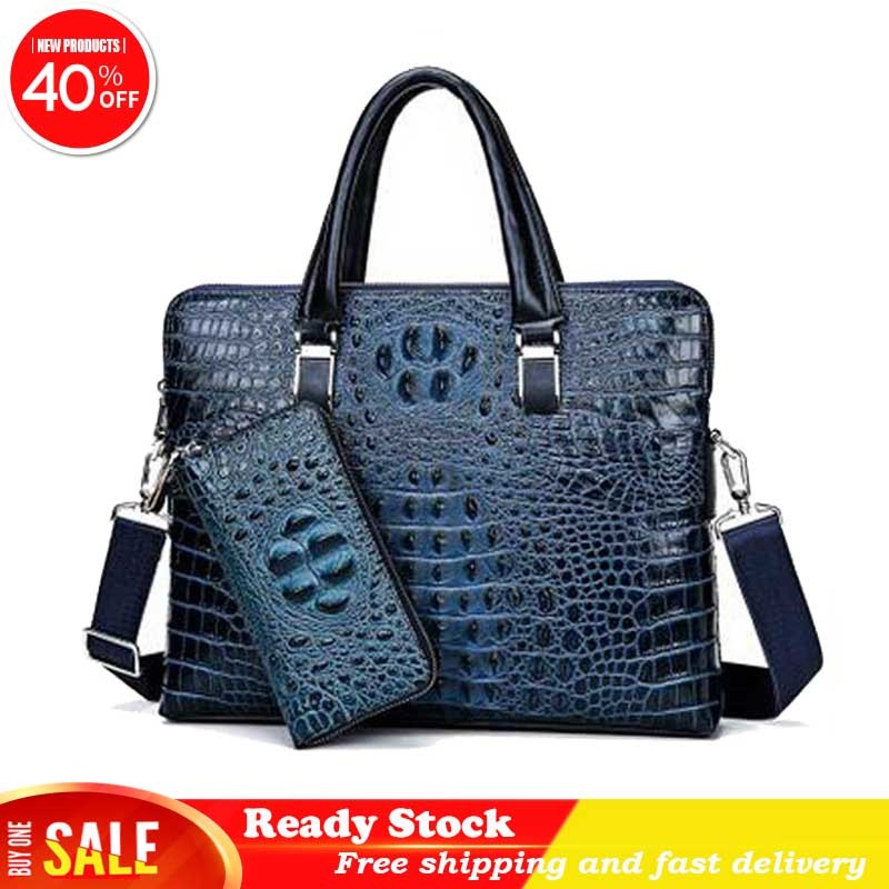 Luxury brand crocodile pattern real cowhide blue laptop bag 15 inch brown portable slung black briefcase new fashion hot sale