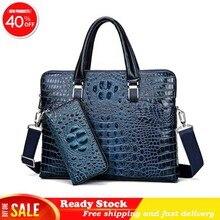 Luxury brand crocodile pattern real cowhide blue laptop bag