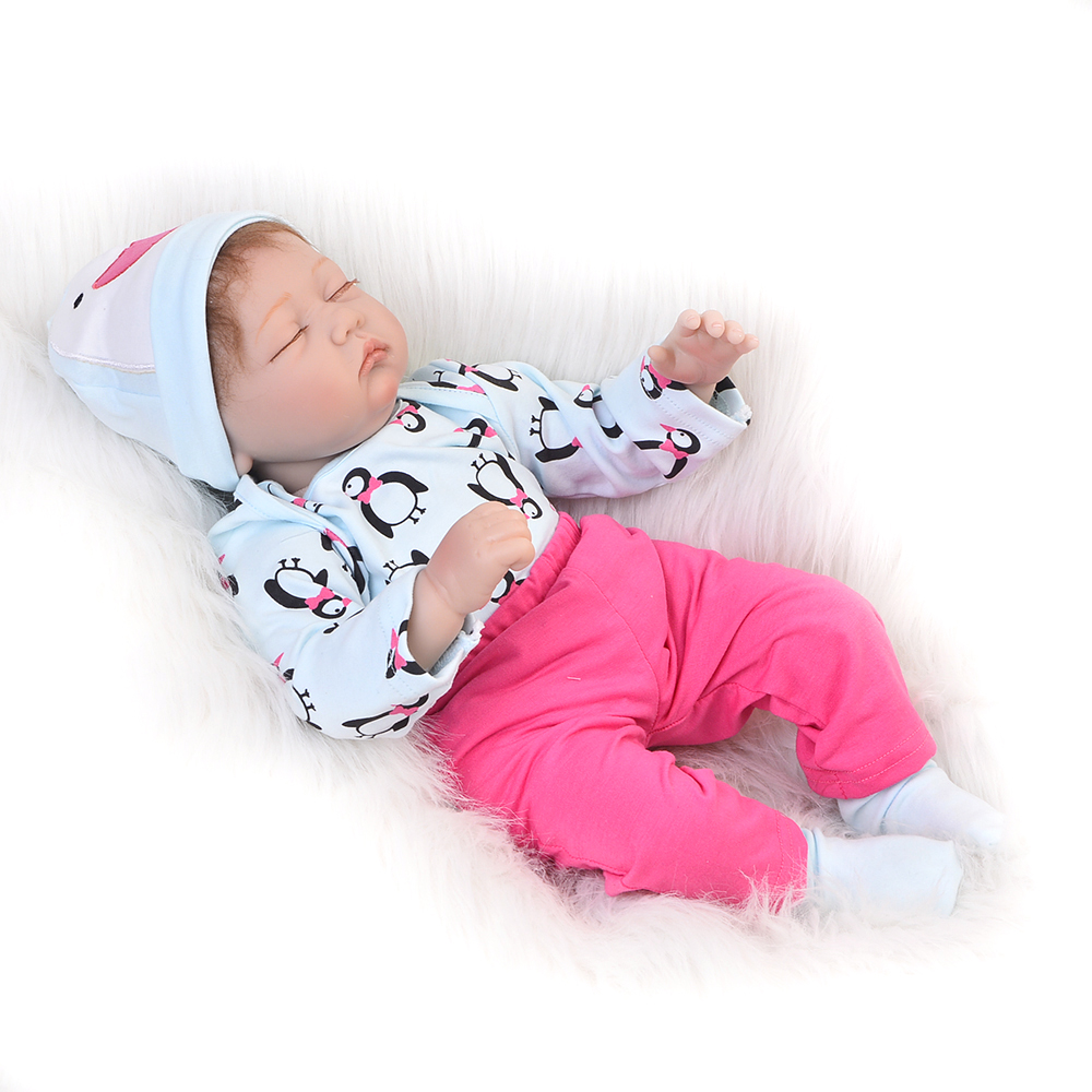 Lifelike Reborn Dolls Babies Silicone Vinyl For Girls Baby Toys 22  55 CM Alive Close Eyes Baby Born Children Playmates Gifts free shipping 70 cm 28 vinyl and pp cotton reborn babies girls large size girls toddler soft silicone baby dolls toys for child