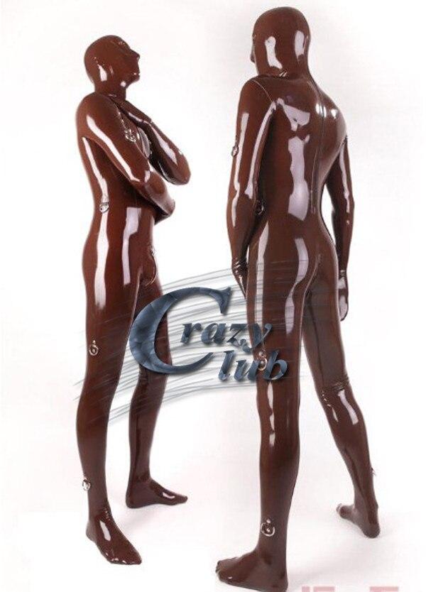 Combinaison Latex costume Latex fétiche brun sexy fétiche latex combinaisons avec fermeture éclair couverture complète en caoutchouc vêtements combinaison pour hommes offre spéciale