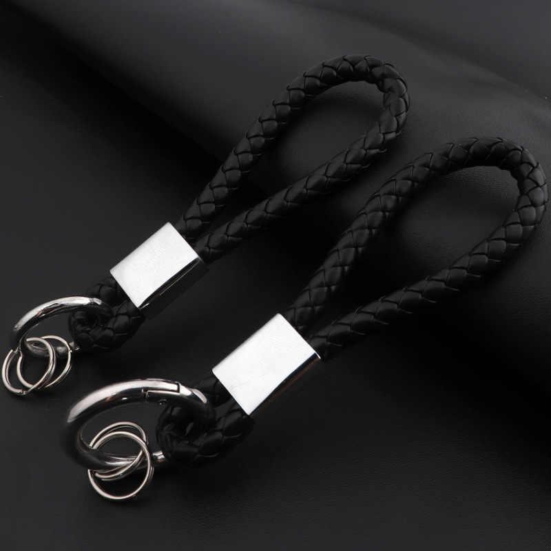 2018 جديد رجل مجوهرات الأسود مزين جلدية مفتاح سلسلة هدايا للرجال سيارة مفتاح قلادة المفاتيح دروبشيبينغ سلسلة مفاتيح حلقة رئيسية
