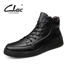 CLAX Mens Boots 2019 Spring Autumn Casual Leather Shoes Male Ankle Boot Genuine Winter Fur Snow Shoe Warm