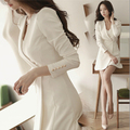 2017 Spring Summer Women dress Full Slim Long Sleeve Solid Thin Waist Mini Dresses White Black 9810