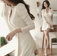 2017 Spring Summer Women dress Full Slim Long Sleeve Solid Thin Waist Mini Dresses White Black 9810