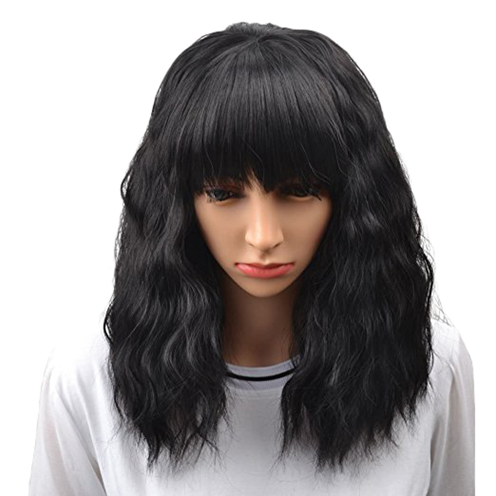 New Develop High Quality Women's Fashion Short Black Curly Bobo Wig Brazilian Full Wig Bob Wave Natural Wigs Gift Dropshipping