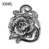 Luxus Grau Kristall Ring Silber Überzogene Vintage-Schmuck Große Blume Form Elegante Ringe Für Frauen Mode 2016