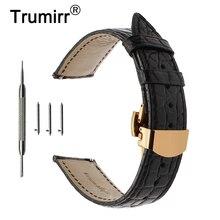 Ремешок для часов из натуральной кожи аллигатора, браслет для наручных часов с постоянным изменением длины 18 мм 20 мм 22 мм
