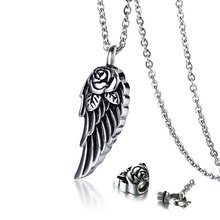 Angel Wing with Rose Cremation Urn Pendant Necklace Stainless steel Memorial Keepsake Cremation Jewelry 20 inch(China)