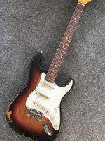 New st electric guitar, sunburst color relic guitar, factory wholesale and retail relic st guitar real photo