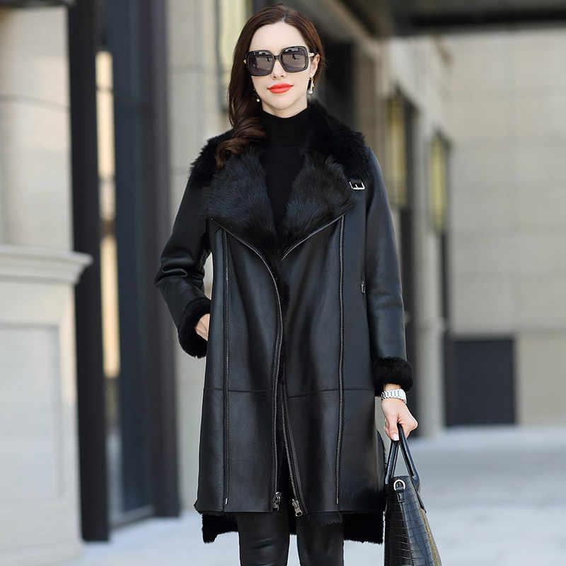 8ce56e730 Real Fur Coat Wool Genuine Leather Jacket Autumn Winter Coat Women ...