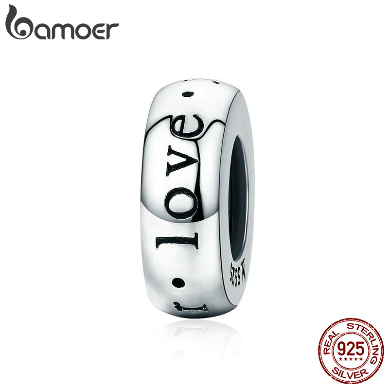 цена BAMOER Romantic New 925 Sterling Silver I Love You Forever Engrave Spacer Beads fit Charm Bracelet & Bangles DIY Jewelry SCC595