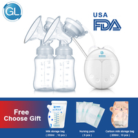 GL Electric Double Breast Pump USB BPA Free Breast Pumps Baby Breast Feeding With Nursing Pads and Breast Milk Storage Gift Set