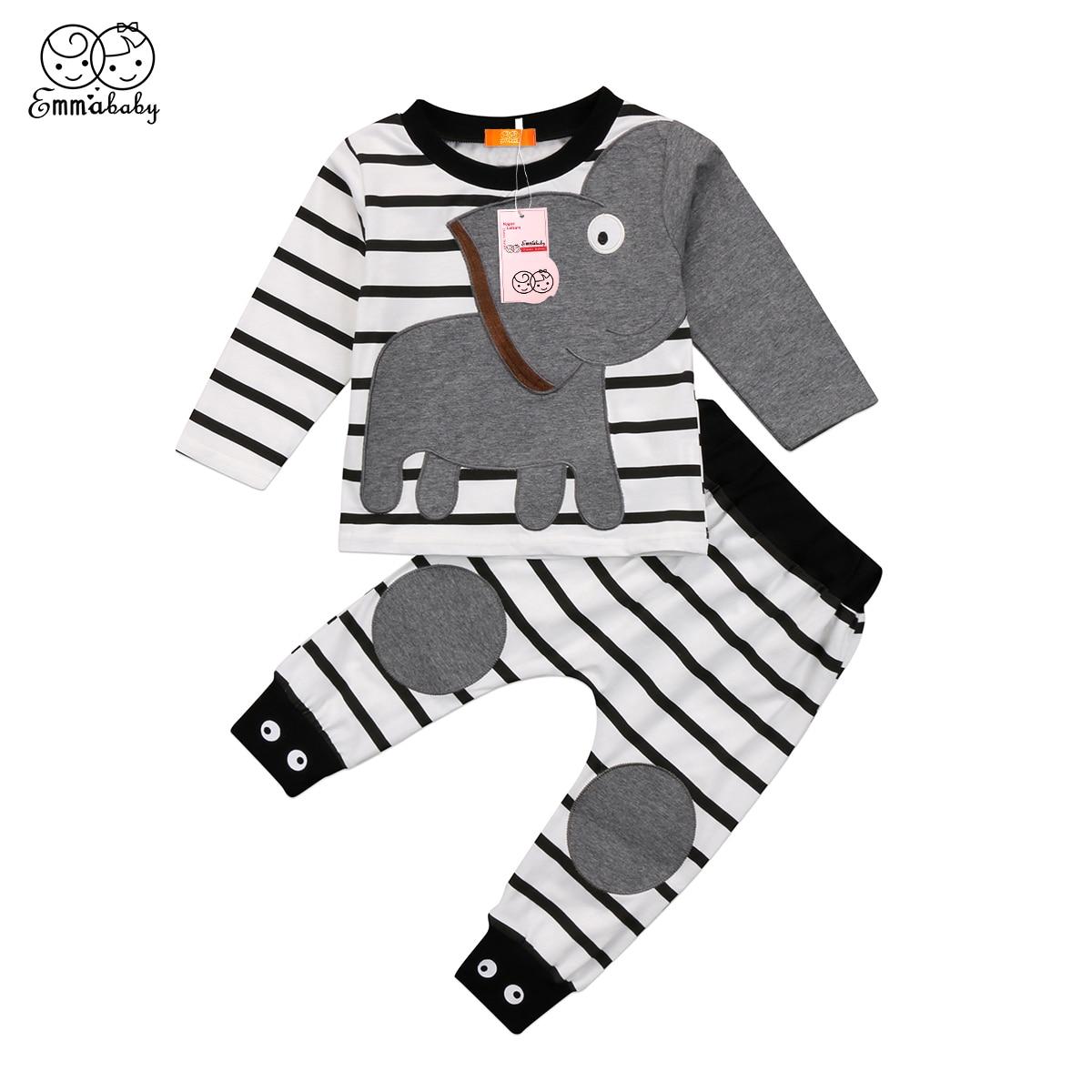 2018 new adorable kid clothes set Baby Boy Girl Elephant ...