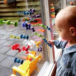 Image 4 - New Softบล็อกอาคารเด็กDIY Pop Squigz Suckerซิลิโคนบล็อกชุดก่อสร้างของเล่นของขวัญสร้างสรรค์สำหรับเด็ก