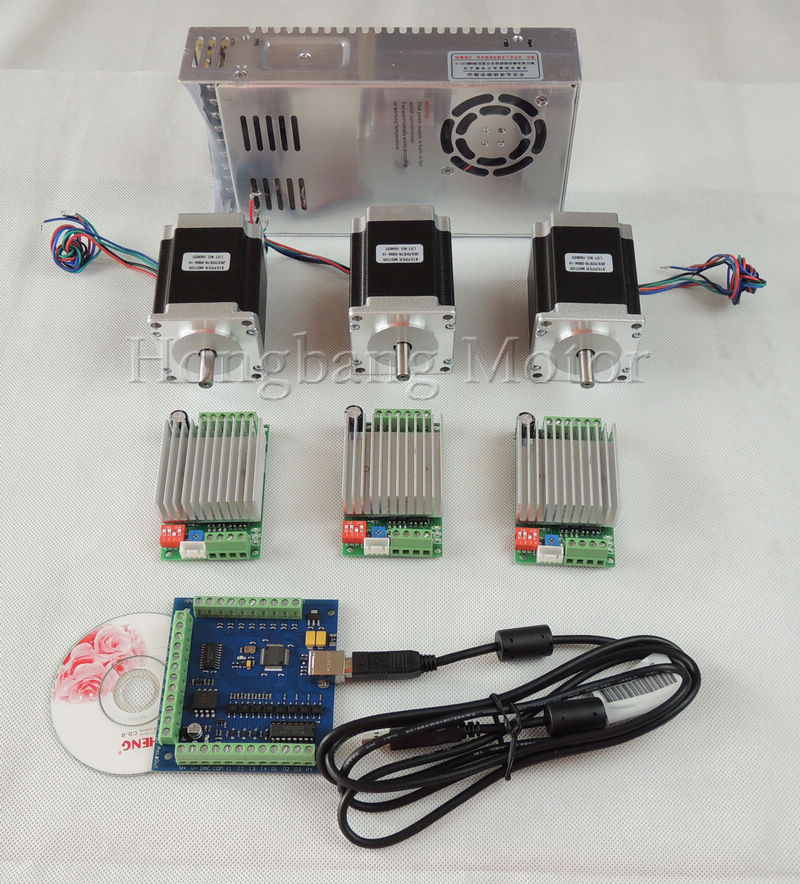 mach3 CNC USB 3 Axis Kit, 3pcs TB6600 driver+ USB stepper motor controller card 100KHz + 3pcs nema23 270oz-in motor+power supply