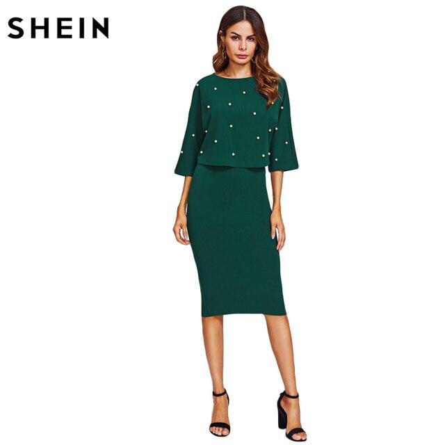 SHEIN Pearl Embellished Autumn Dress Elegant Womens Dresses Solid Green Half Sleeve Knee Length Sheath Two Piece 4