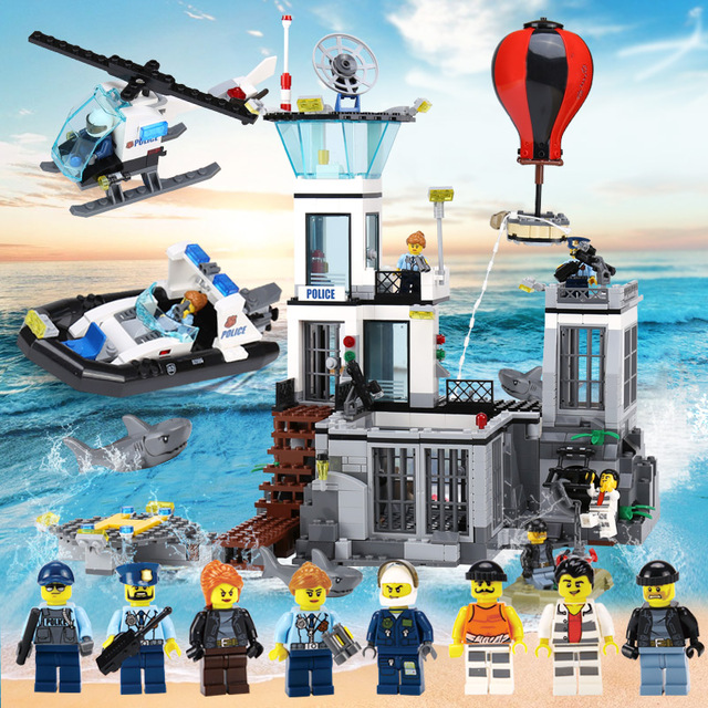 Lepin 02006 815pcs Building Blocks Compatible legoing 60130 City Series The Prison Island Toys Models building Birthday Gifts цена