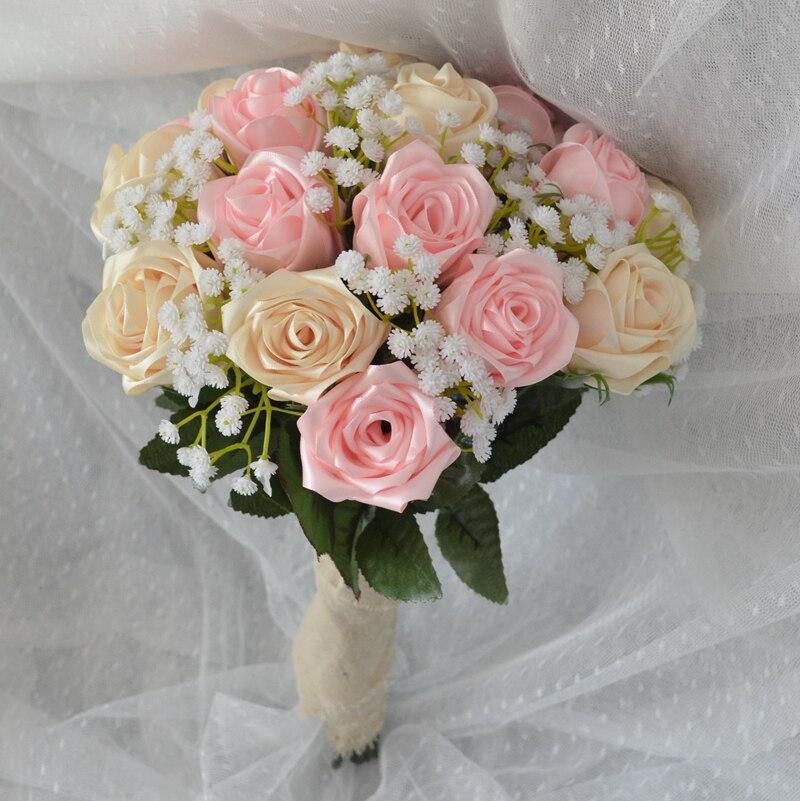 Us 35 9 Brides Bouquet Handmade Satin Rose Flowers 2 Coulour Wedding Bouquet Fleurs De Mariage Fleurs Artificielles Pour Le Mariage In Wedding