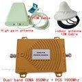 Mini Dual Band Mobile Phone Signal Booster 850 MHz 1900 MHz PCS CDMA Repetidor de Sinal de Telefone Celular Amplificador de Sinal com antena