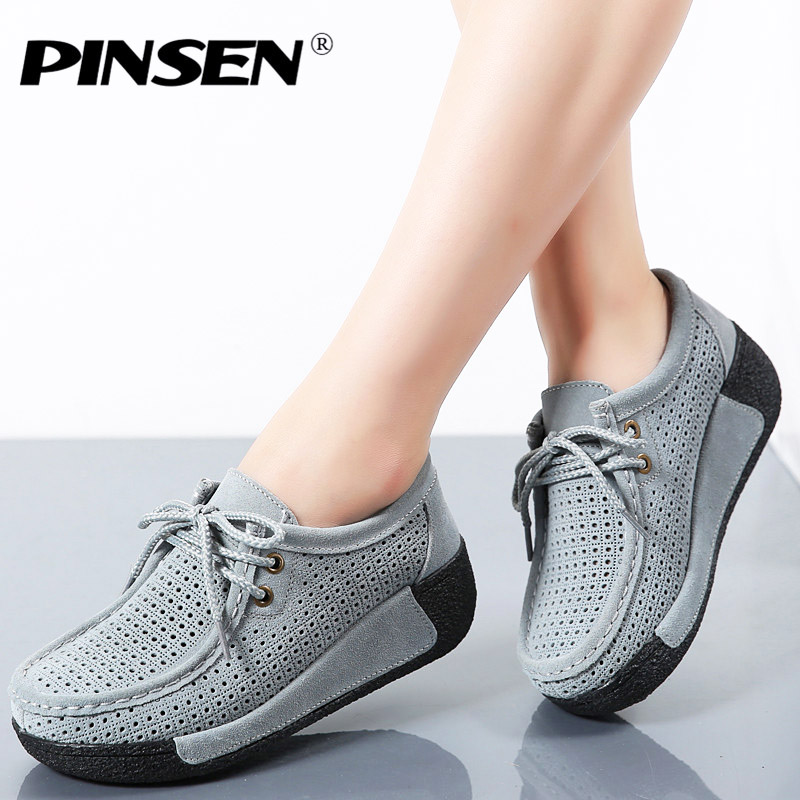 PINSEN 2019 Spring Women Shoes   Leather     Suede   Flat Platform Sneakers Creepers Cutouts Lace Up Flats Shoes Woman slipony moccasins