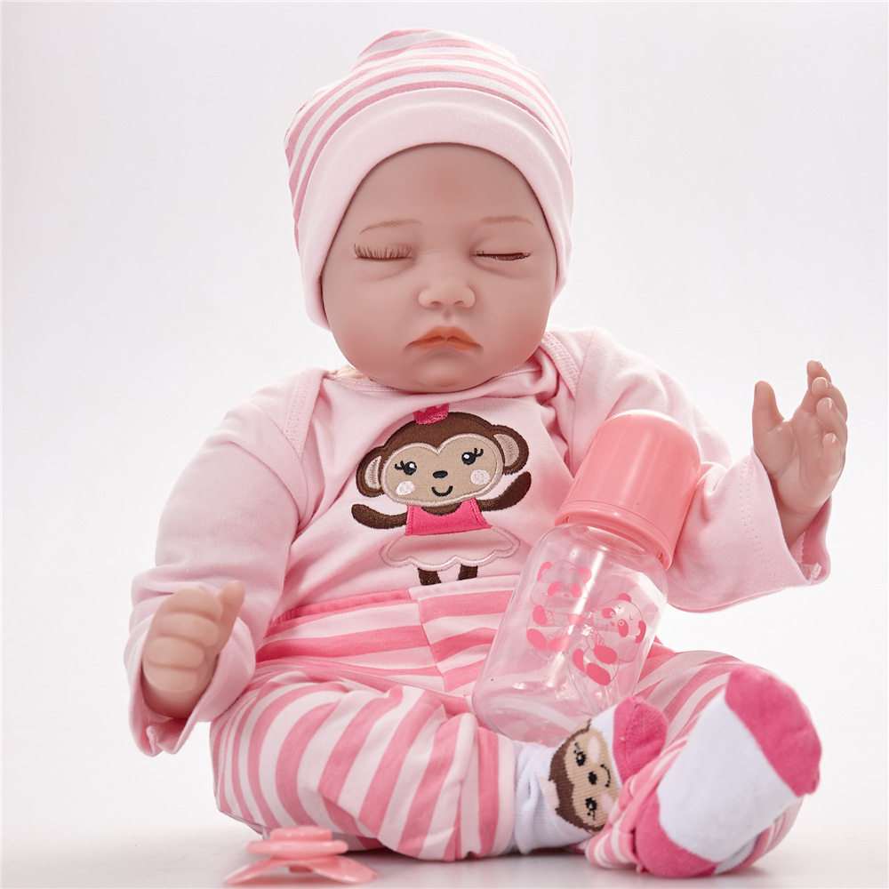 22 inches Soft Silicone Closed Eyes Reborn Baby Doll with Cloth Body Realistic Sleeping Newborn Toys for Girl Gift npkcollection55cm soft silicone newborn baby doll with eyes closed simulation to accompany sleep toys silicone reborn baby doll