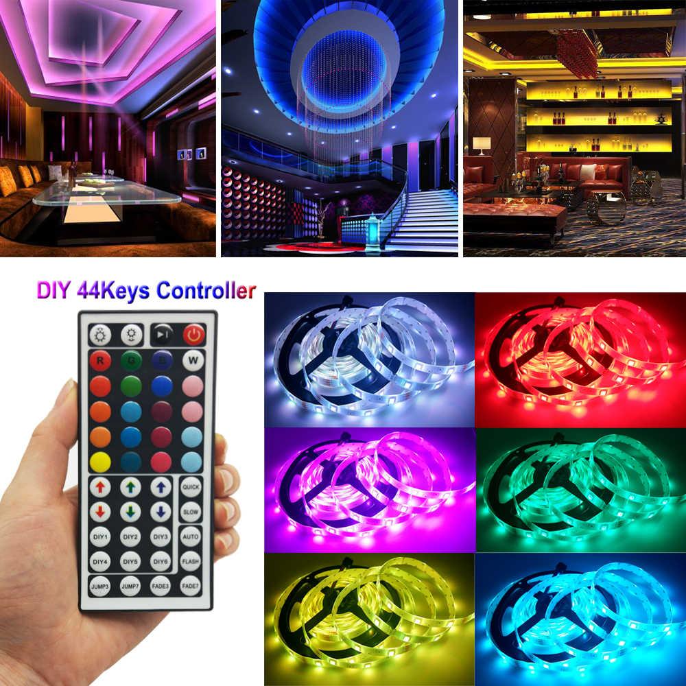 5 M czarny taśma LED 5050 nie wodoodporny elastyczne światła 30 diod LED/m 5 M/rolka DC12V fita de światło led RGB taśmy wstążka + kontroler