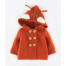 Brand Spring Fall Fox Rabbit Baby Infant Boys Girls Handmade Embroidered Children Clothes Sweater Cardigan Hooded Jacket 0-5Y
