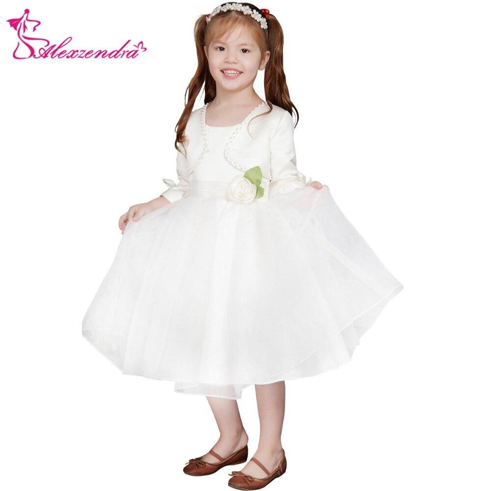 Alexzendra Tea Length White Ivory Flower Girls Dresses with Jacket Girls First Communion Dress Princess Girl Dress
