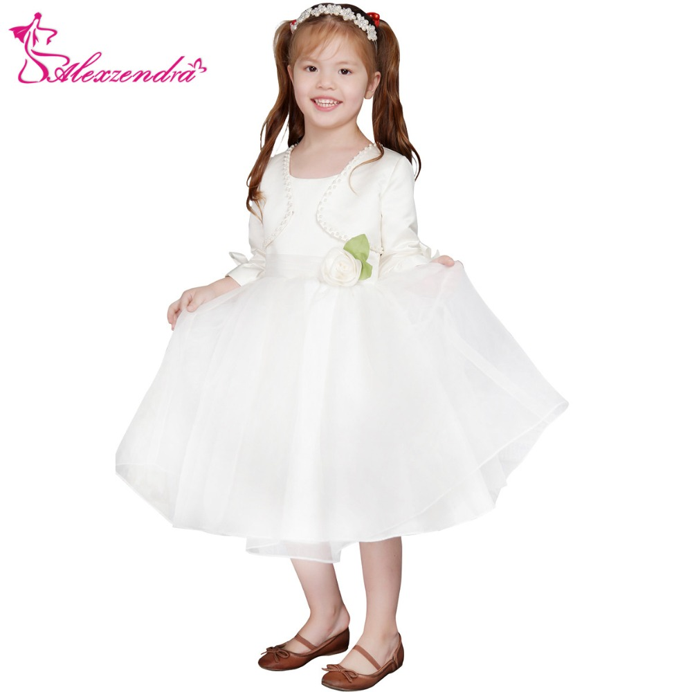 Alexzendra Tea Length White Ivory   Flower     Girls     Dresses   with Jacket   Girls   First Communion   Dress   Princess   Girl     Dress
