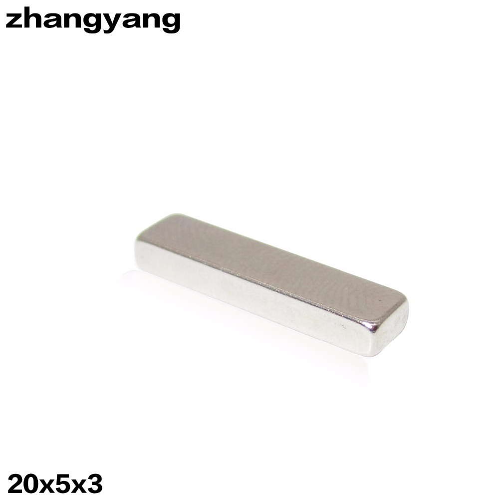 ZHANGYANG Hot Sale 500pcs/lot N50 20x5x3mm Strong Block Cuboid Magnets Rare Earth Neodymium Magnets 20*5*3mm