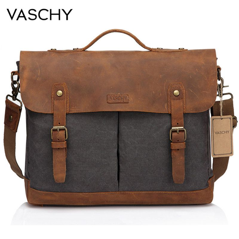 VASCHY Casual Men s Briefcase Business Messenger Bag Cowhide Leather Canvas Shoulder Bag 15 6 inch